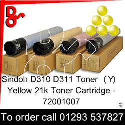 Sindoh D310 - D311 Toner (Y) Yellow 21k Genuine Sindoh Toner Cartridge - 72001007 for sale Crawley West Sussex and Surrey