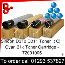 Sindoh D310 - D311 Genuine Toner Cartridge  (C) Cyan 21k  72001005  next day UK Nationwide call 01293 537827