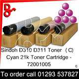 Sindoh D310 - D311 Genuine Toner Cartridge  (M) Magenta 21k 72001006  next day UK Nationwide call 01293 537827