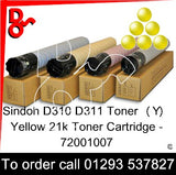 Sindoh D310 - D311 Genuine Toner Cartridge  (Y) Yellow 21k 72001006  next day UK Nationwide call 01293 537827