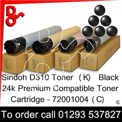 Sindoh D310 Toner (K) Black 24k Premium Compatible Toner Cartridge - 72001004(C) for sale Crawley West Sussex and Surrey next day UK Nationwide delivery