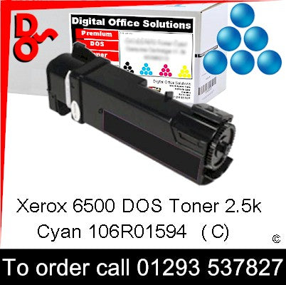 Xerox Phaser 6500 Toner 106R01594 Cyan 2.5k Toner Premium Compatible Quality Guaranteed