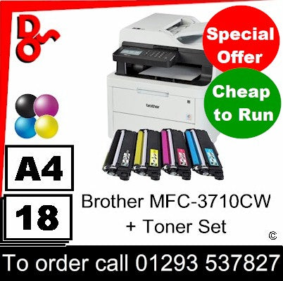 """Special Offer"" NEW Brother MFC-L3710CW Colour A4 MFP Printer + spare toner set"