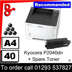 """Special Offer"" NEW Kyocera P2040dn Mono A4 Printer - 1102RV3NL0 + spare toner"