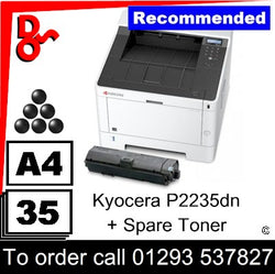 """Special Offer"" NEW Kyocera P2235dn Mono A4 Printer + spare toner"