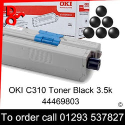 OKI C310 Toner 44469803 Black 3.5k Genuine OKI Toner Cartridge for sale Crawley West Sussex and Surrey