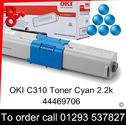 OKI C310 Toner 44469706 Cyan Genuine Toner Cartridge for sale Crawley West Sussex and Surrey