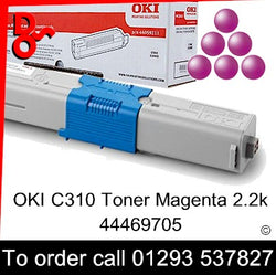 OKI C310 Toner 44469705 Magenta Genuine OKI Toner Cartridge for sale Crawley West Sussex and Surrey