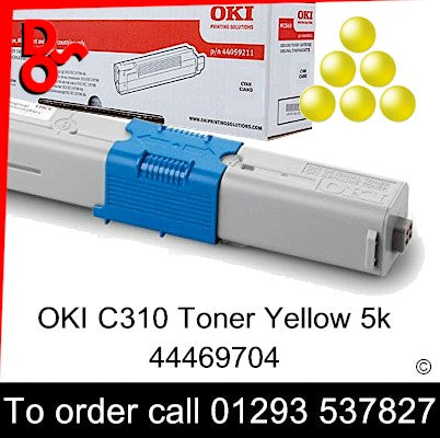 OKI C310 Toner 4469704 Yellow Genuine OKI Toner Cartridge for sale Crawley West Sussex and Surrey