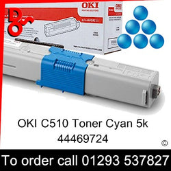 OKI C510 Toner 44469724 Cyan Genuine OKI Toner Cartridge for sale Crawley West Sussex and Surrey