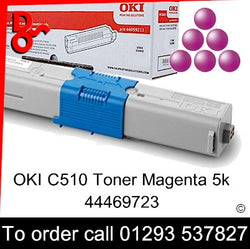 OKI C510 Toner 44469723 Magenta Genuine OKI Toner Cartridge for sale Crawley West Sussex and Surrey