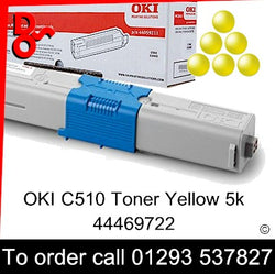 OKI C510 Toner 44469722 Yellow Genuine OKI Toner Cartridge for sale Crawley West Sussex and Surrey