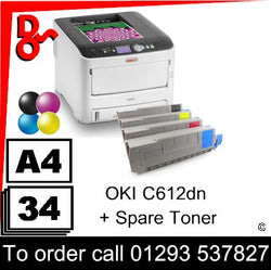 """Special Offer"" Printer Colour A4 OKI C612dn LED Laser Printer - 46551003 + spare toner"
