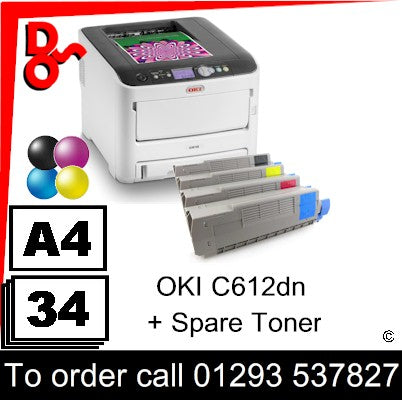 """Special Offer"" Printer Colour A4 OKI C612dn LED Laser Printer with spare set of toners 46551003 UK Next day delivery Crawley West Sussex and Surrey"