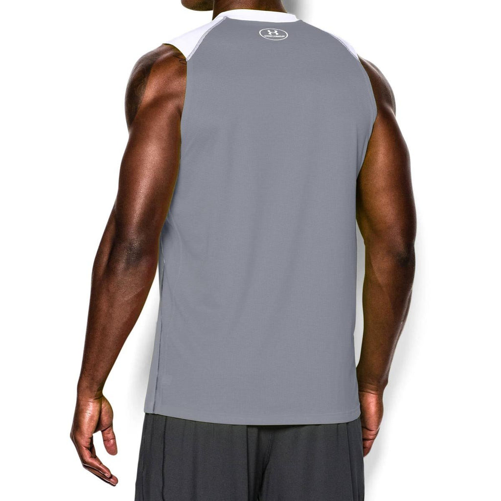 Under Armour Men's White UA Raid Sleeveless T-Shirts