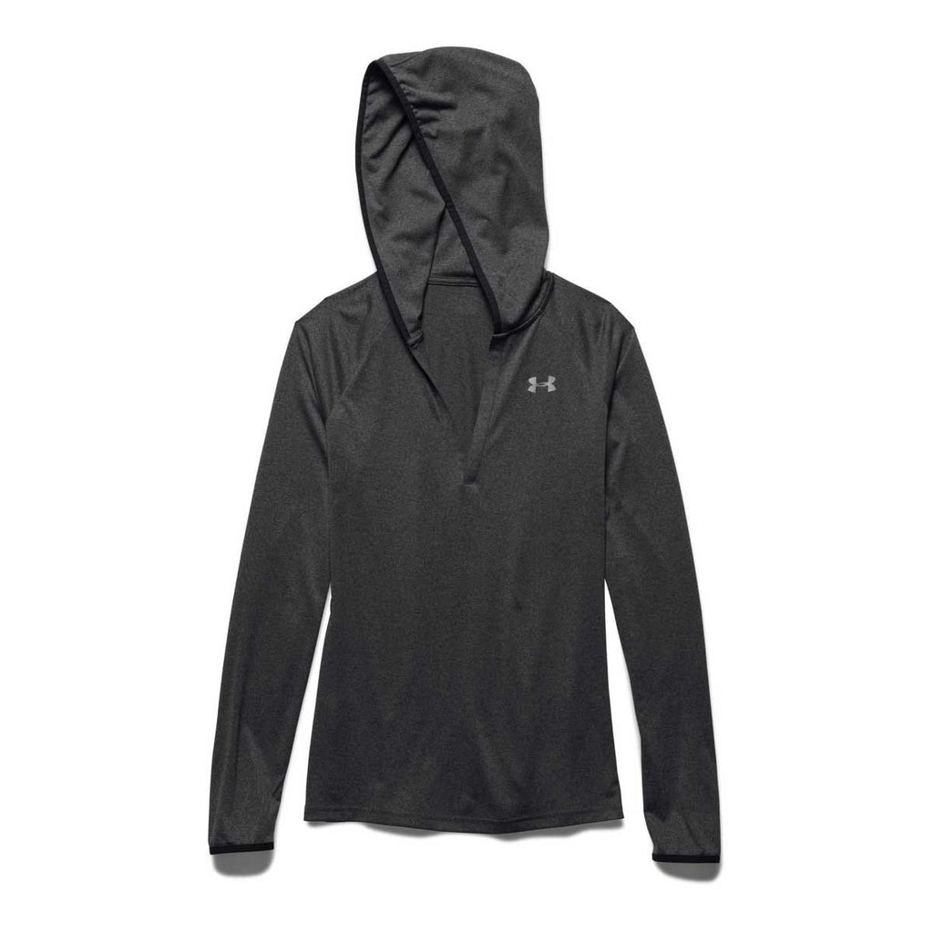 Under Armour Women's Carbon Heather/Black/Metallic Silver UA Tech Long Sleeve Hoodie