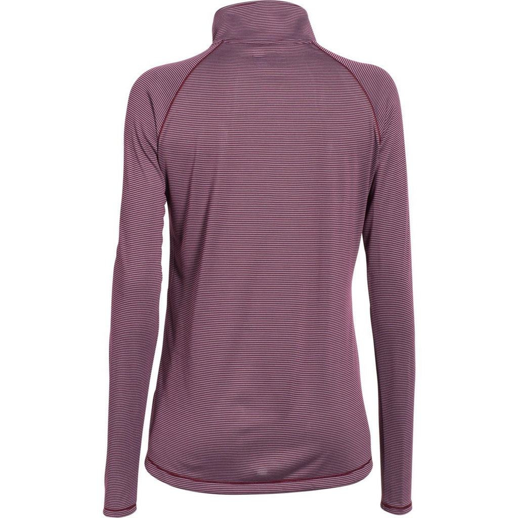 Under Armour Women's Maroon Steel Stripe Tech 1/4 Zip
