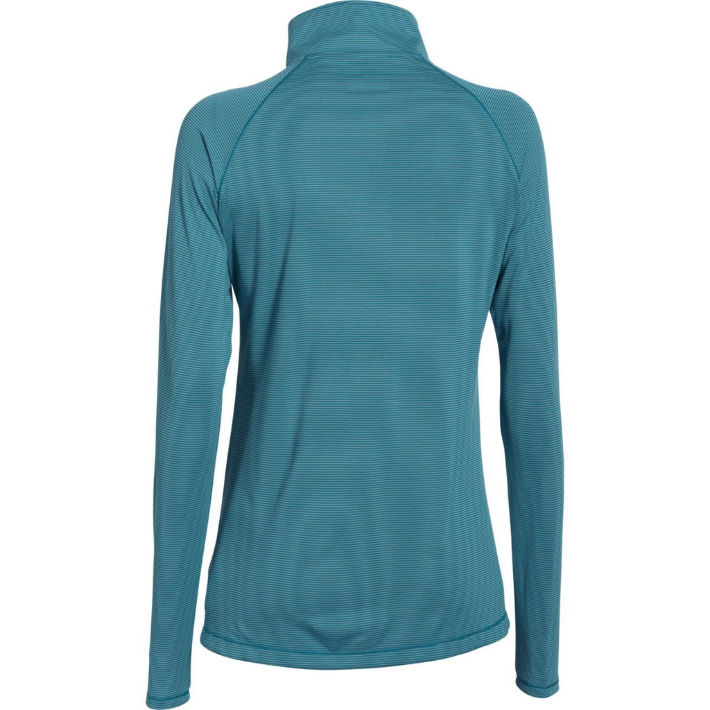Under Armour Women's Coastal Teal Steel Stripe Tech 1/4 Zip