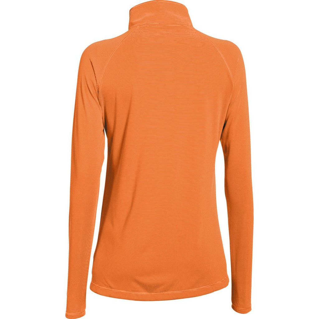 Under Armour Women's Citrus Blast Outrageous Orange Stripe Tech 1/4 Zip