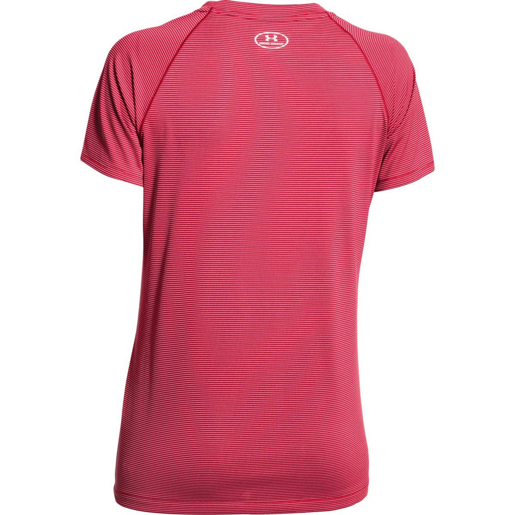 Under Armour Women's Red UA Stripe Tech Locker Short Sleeve Tee