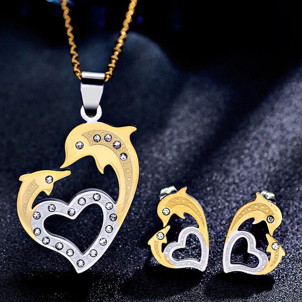 Valentine's Gift Lovely Dolphin Heart Stud Earrings & Necklace Set