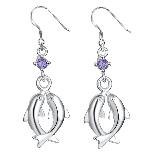 Two Dolphins Lovers Earrings With Purple zircon