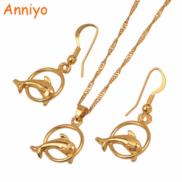 Gold Color Small Size Dolphin Necklaces and Earrings Set