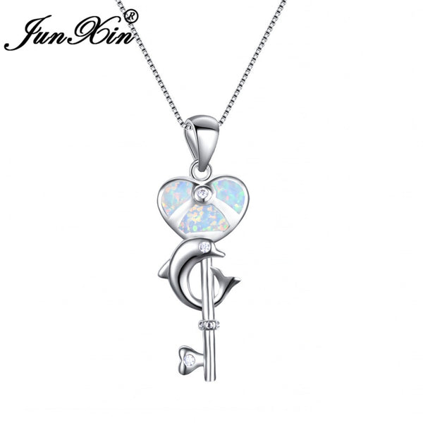 Dolphin Pendant Heart Key Necklace 925 Sterling Silver Filled