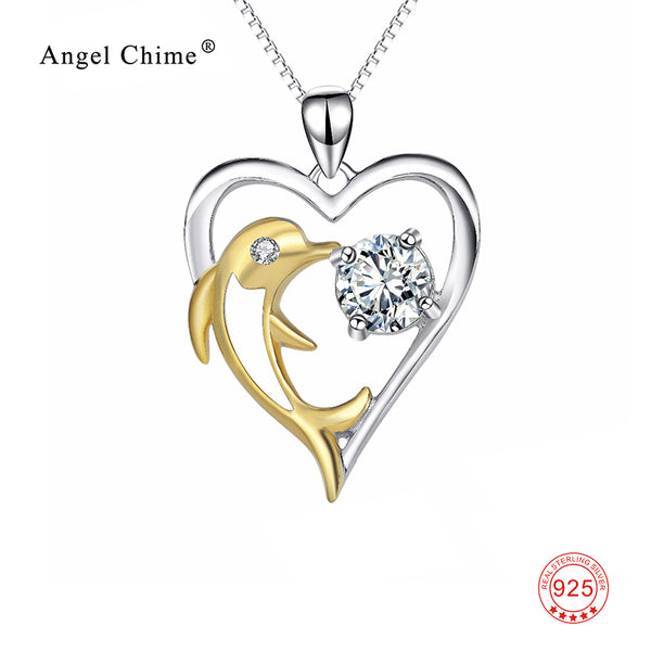 Heart 925 Sterling Silver Gold Dolphin With Cubic Zirconia Necklace