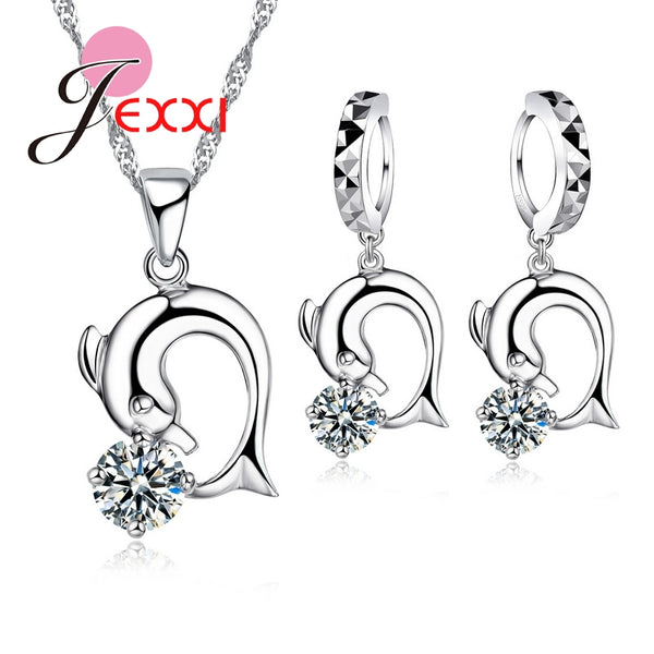 CZ Crystal Dolphin Necklace Brincos Earrings 925 Sterling Silver Set