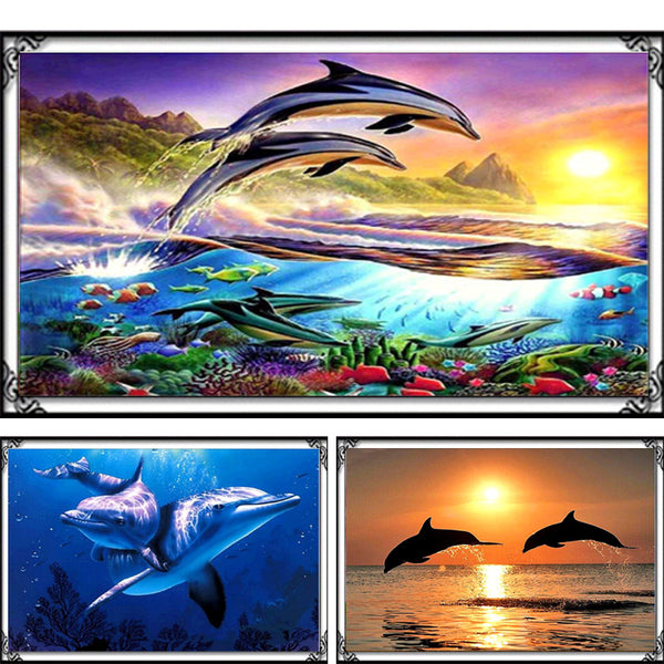 DIY 5D Mosaic Dolphins Painting