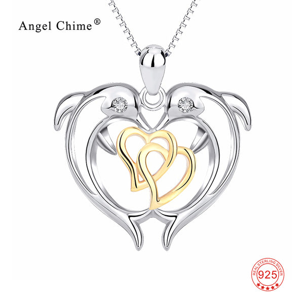 Romantic Two Dolphins Lovers Necklace