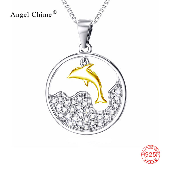 925 Sterling Silver Gold Jumping Dolphin Necklace With Crystals
