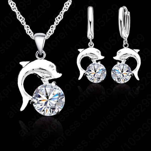 Dolphins Set Necklaces + Earrings With Cubic Zirconia