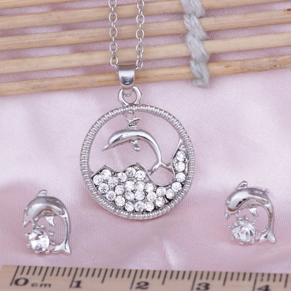 Crystal Dolphin Pendant  Necklace + Earrings Set