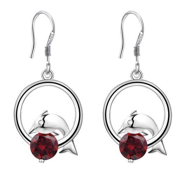 Dolphins Playing  Dark Red Zircon Silver Plated Earrings