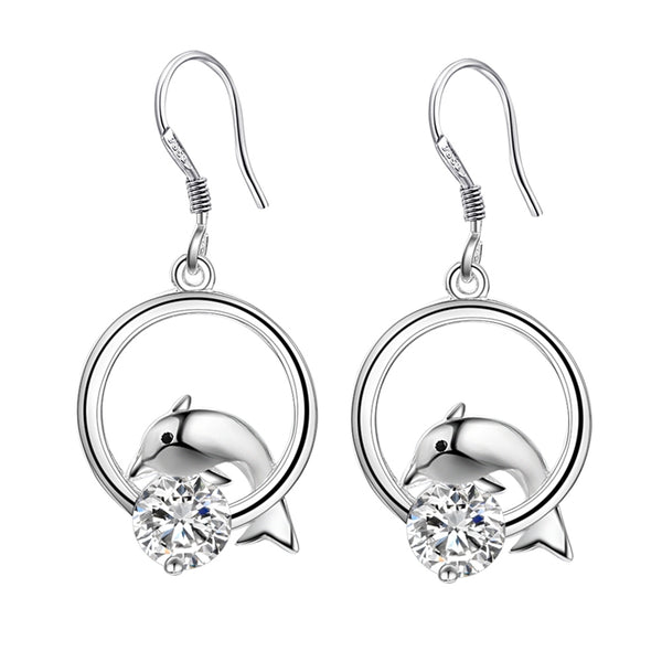 Dolphins Playing Earrings With Shiny Zircon