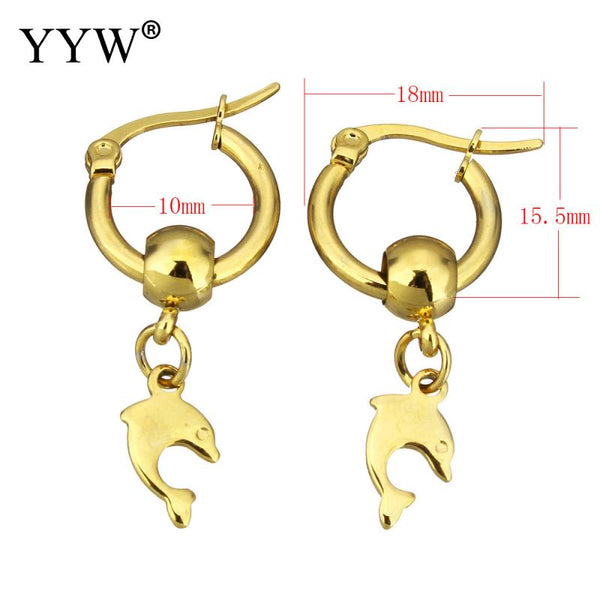 Gold Color Stainless Steel Lever Back Circle Dolphin Drop Dangle Earrings