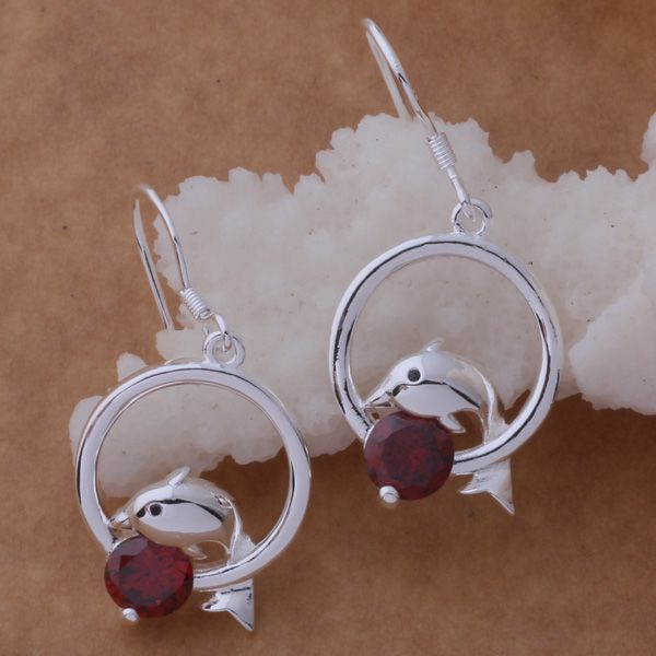 925 Sterling Silver Dolphin Earrings With Red Stone