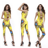 Summer  Vintage African Tribal Print Elastic Sheath Tank Top and Pants 2 Piece Set - WWW.REBELOUTRAGE.COM