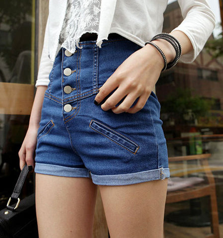 Fashion 4 Button Retro Elastic High Waist Shorts - WWW.REBELOUTRAGE.COM