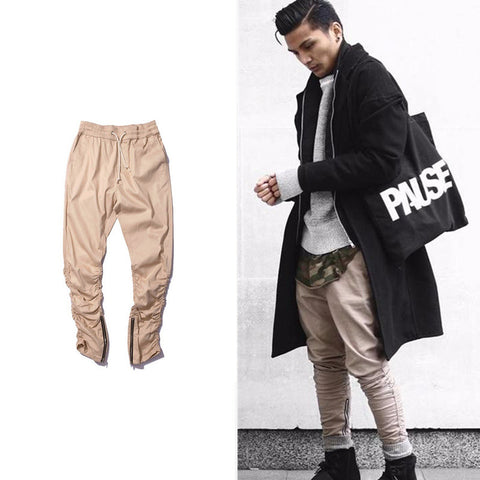 HOT army Pants Casual Skinny Zipper botton Sweatpants Solid Hip Hop high street Trousers Pants Men Joggers Slimming pants - WWW.REBELOUTRAGE.COM