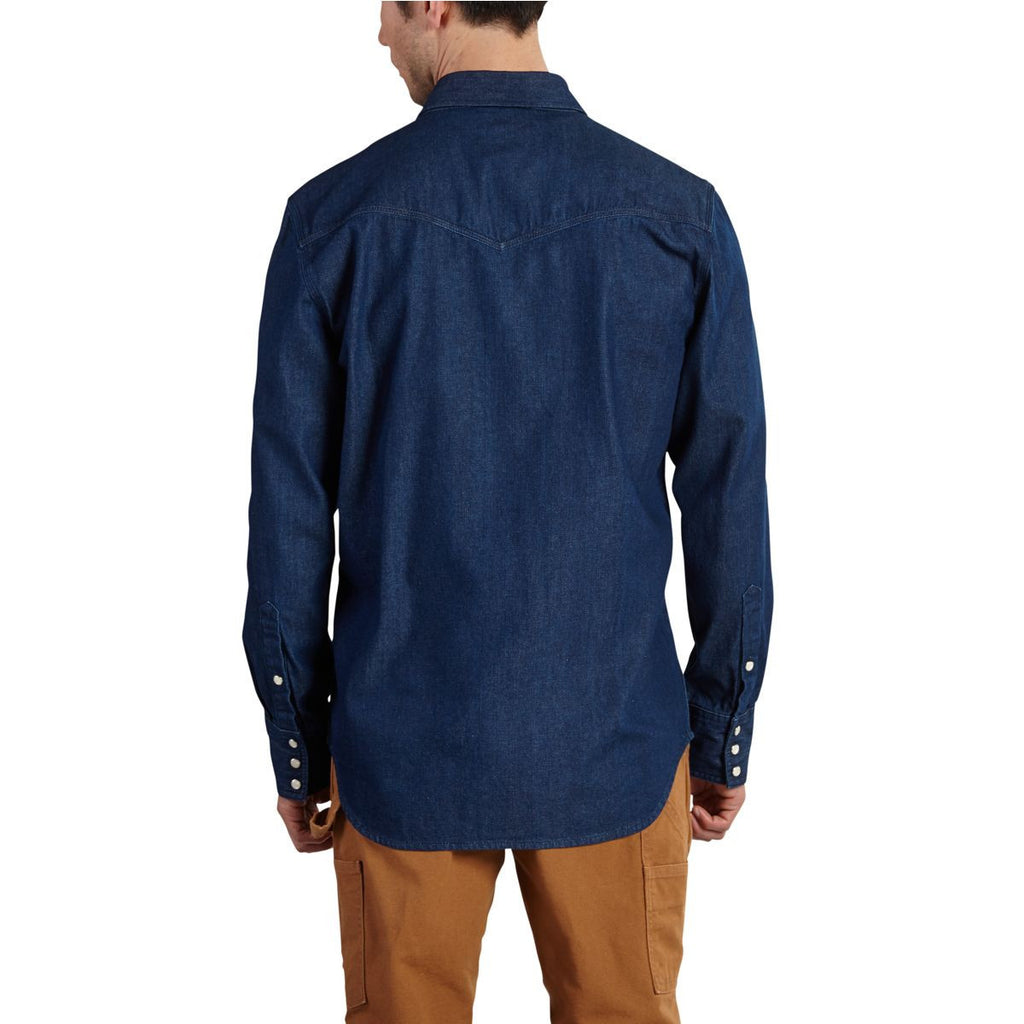 Carhartt Men's Tumbled Blue Ironwood Denim Work Shirt