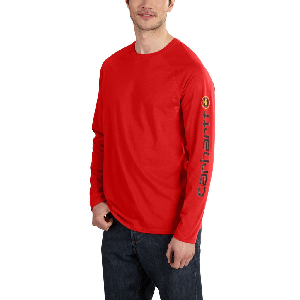 Carhartt Men's Electric Red Force Cotton Delmont Sleeve Graphic T-Shirt