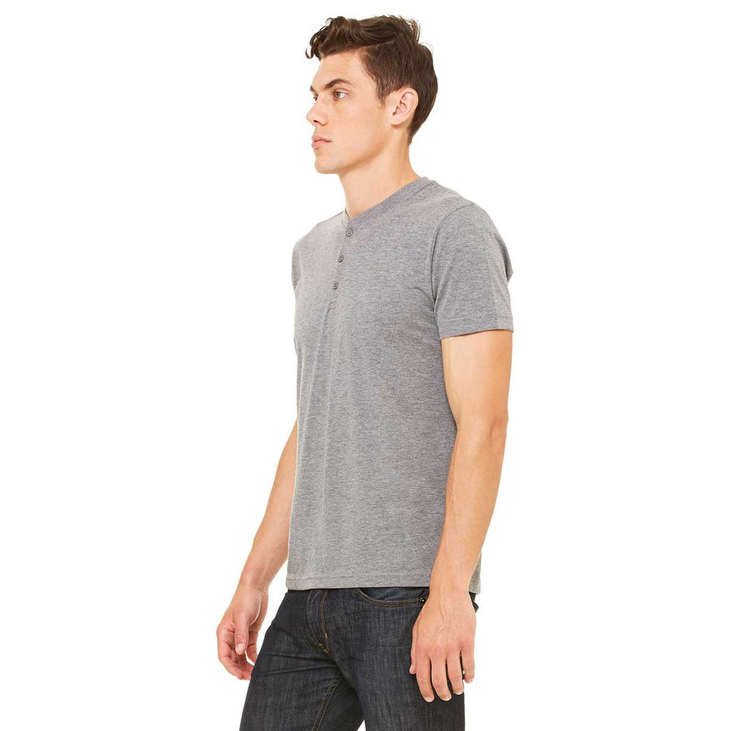 Bella + Canvas Men's Grey Triblend Short-Sleeve Henley