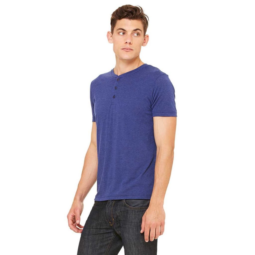 Bella + Canvas Men's Navy Triblend Short-Sleeve Henley