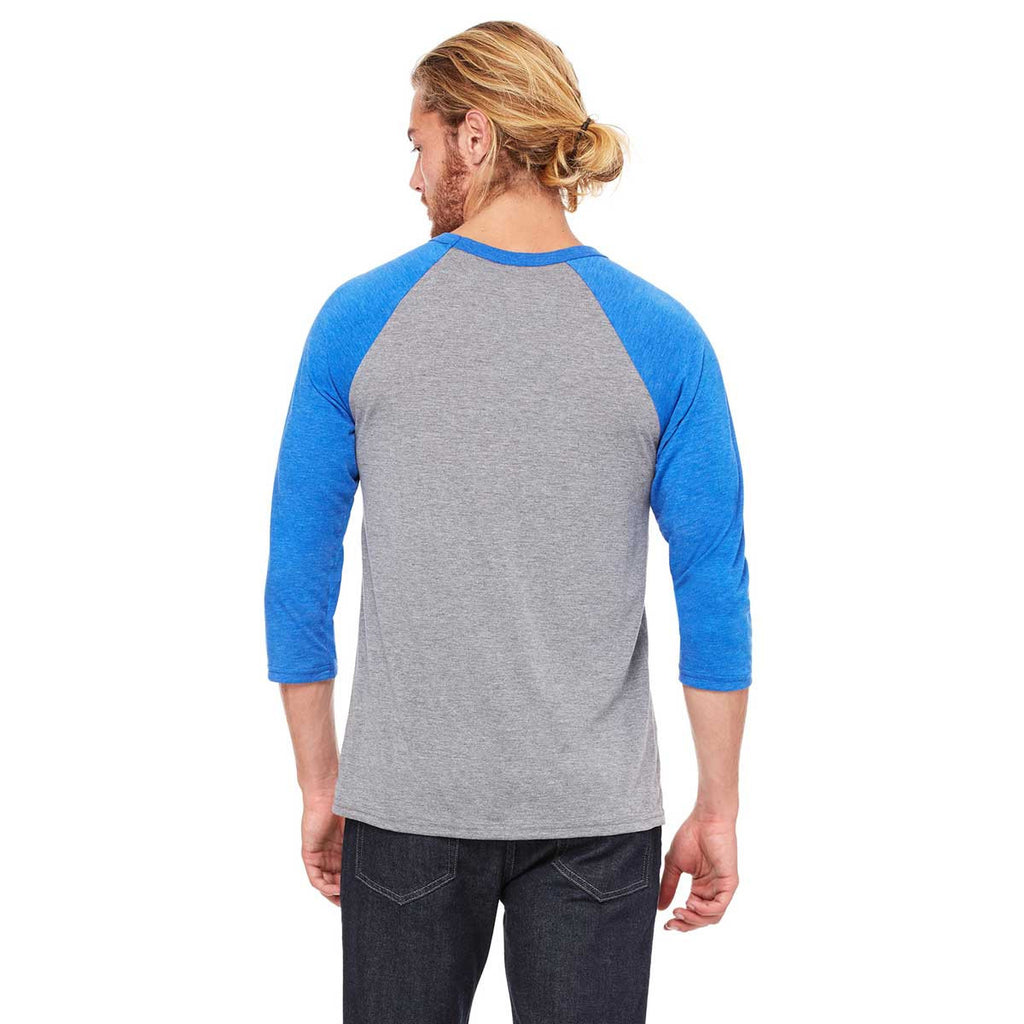 Bella + Canvas Unisex Grey/True Royal Triblend 3/4 Sleeve Baseball T-Shirt