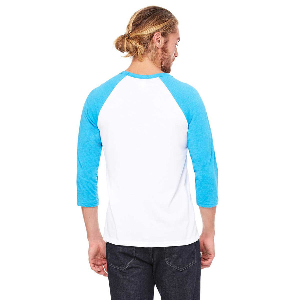 Bella + Canvas Unisex White/Neon Blue 3/4 Sleeve Baseball T-Shirt