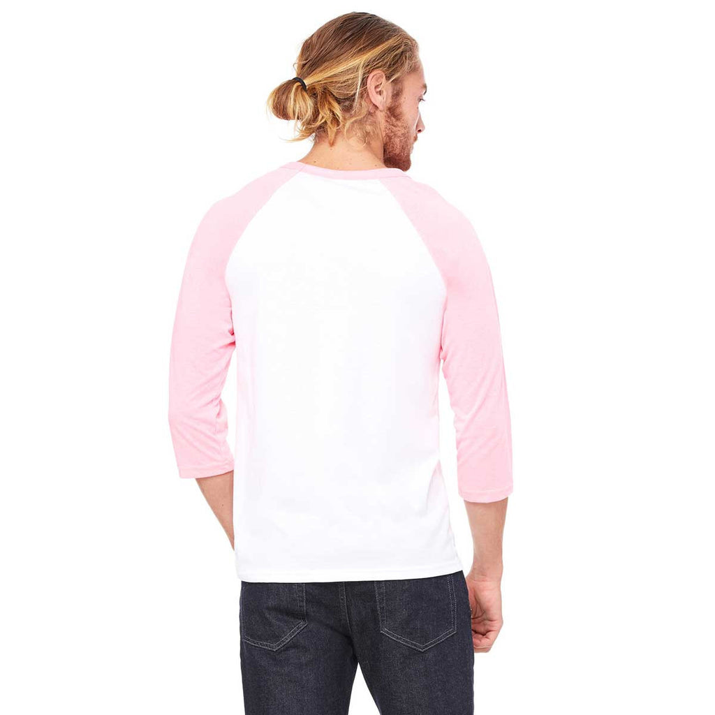 Bella + Canvas Unisex White/Neon Pink 3/4 Sleeve Baseball T-Shirt
