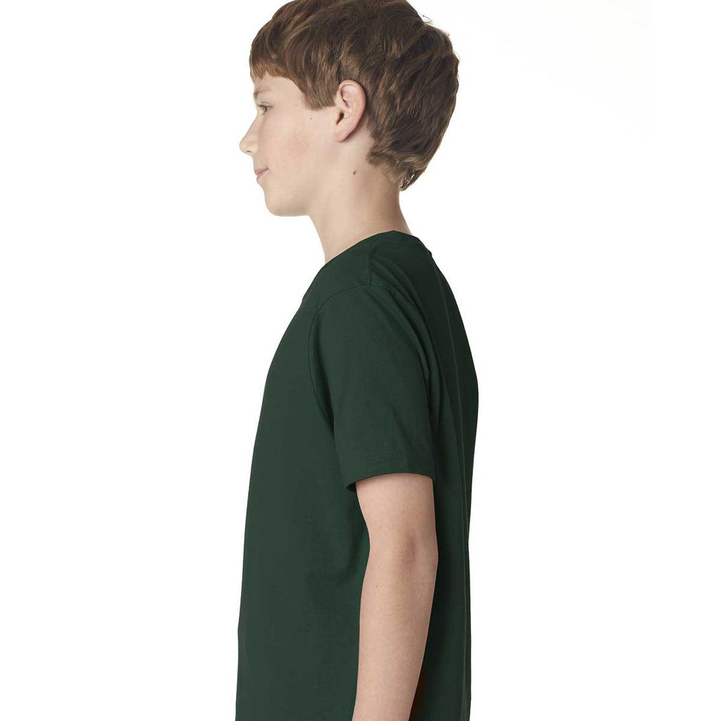 Next Level Boy's Forest Green Premium Short-Sleeve Crew Tee